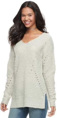 It's Our Time Its Our Time Juniors' Lace-Up Tunic Sweater