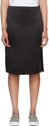 6397 Black Silk Side Slit Skirt