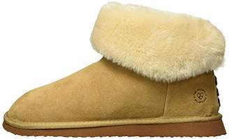 Dearfoams Women's Suede Bootie w Lacing Slipper