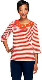 Quacker Factory Striped Rhinestone GrommetT-shirt