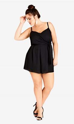 City Chic Citychic Side Tie Playsuit - Black
