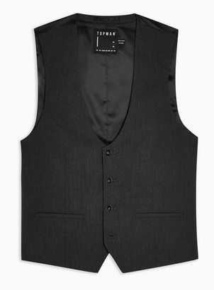 Topman Mens Grey Gray Slim Fit Five Button Suit Waistcoat