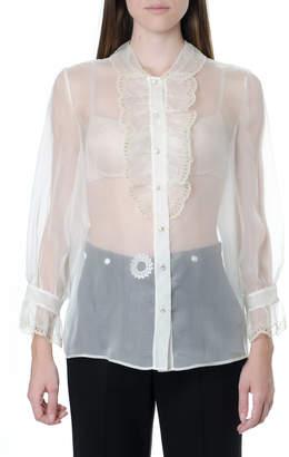 Miu Miu Semi-transparent Silk Ruffled & Broderie Skirt