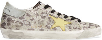 Golden Goose Deluxe Brand - Super Star Distressed Glittered Leopard-print Leather Sneakers - Leopard print $495 thestylecure.com