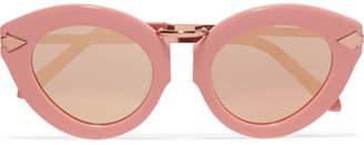 Karen Walker Lunar Flowerpatch Cat-eye Acetate And Rose Gold-tone Mirrored Sunglasses - Pink