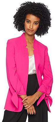 Tahari by Arthur S. Levine Women's Crepe starneck Open Jacket with tie Sleeve