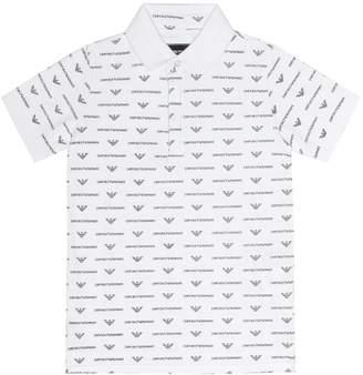 Emporio Armani Kids Printed cotton-blend polo shirt