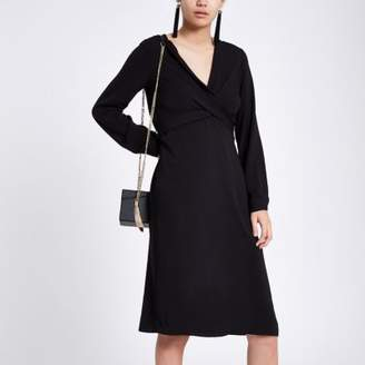 River Island Black wrap V neck midi dress