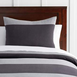 Pottery Barn Teen Bold Stripe Favorite Tee Duvet Cover, Twin/Twin XL, Heathered Gray/Charcoal