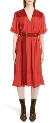 Chloé Belted Crepe Midi Dress