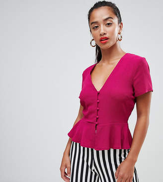 Missguided Petite button front peplum blouse in pink
