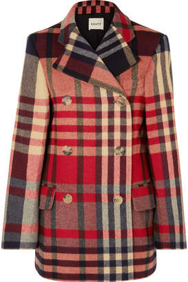 Khaite - Clara Double-breasted Checked Wool And Cashmere-blend Coat - Red