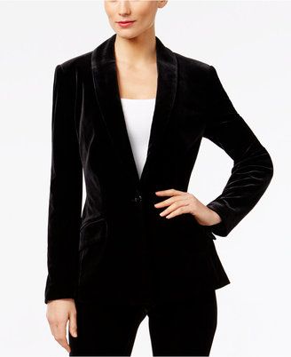 INC International Concepts Velvet One-Button Blazer, Only at Macy's $99.50 thestylecure.com