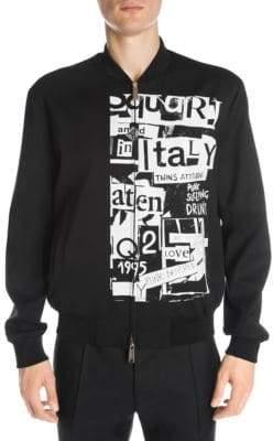DSQUARED2 Punk Print Wool-Blend Bomber Jacket