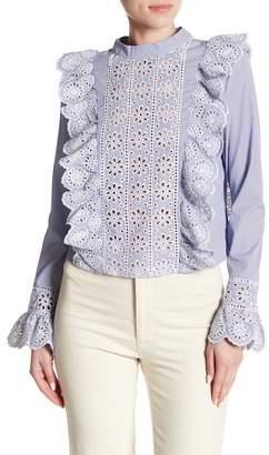 Romeo & Juliet Couture ROMEO &JULIET COUTURE Striped Crochet Flare Blouse