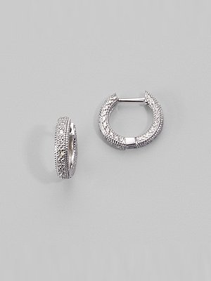 Zasha 14K White Gold & Pave Diamond Hoop Earrings/½