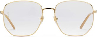 Gucci Rectangular-frame metal glasses