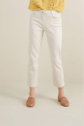 Next Womens Ecru Soft Touch Cropped Jeans - Cream