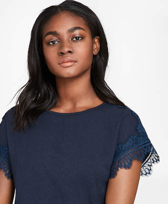 Brooks Brothers Lace-Trimmed Dolman-Sleeve T-Shirt