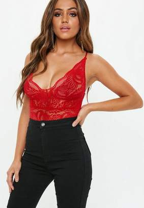 Missguided Red Lace Cami Bodysuit
