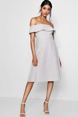 boohoo Off The Shoulder Woven Stripe Skater Dress