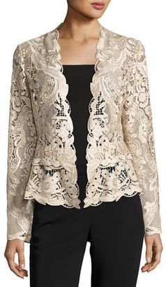 Kobi Halperin Miranda Tailored Lace Cocktail Jacket, Champagne $209 thestylecure.com