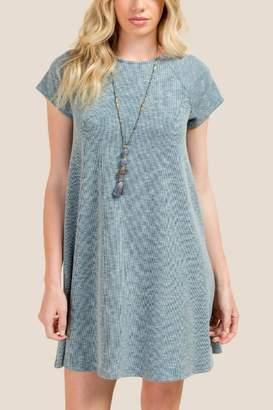Isla Lattice Back Knit Dress - Teal