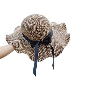 at Amazon Canada · Labellevie Womens Black ribbon Floppy Summer Sun Beach Straw  Hat Foldable Wide Brim f6106cb4dd69