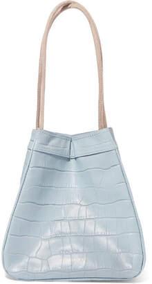REJINA PYO - Rita Croc-effect Leather Bucket Bag - Sky blue