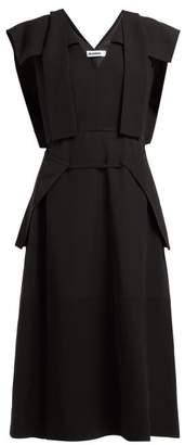 Jil Sander Overlay Panel Twill Dress - Womens - Black