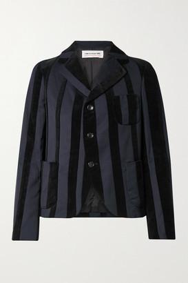 Comme des Garcons Striped Wool-blend And Velvet Blazer - Midnight blue