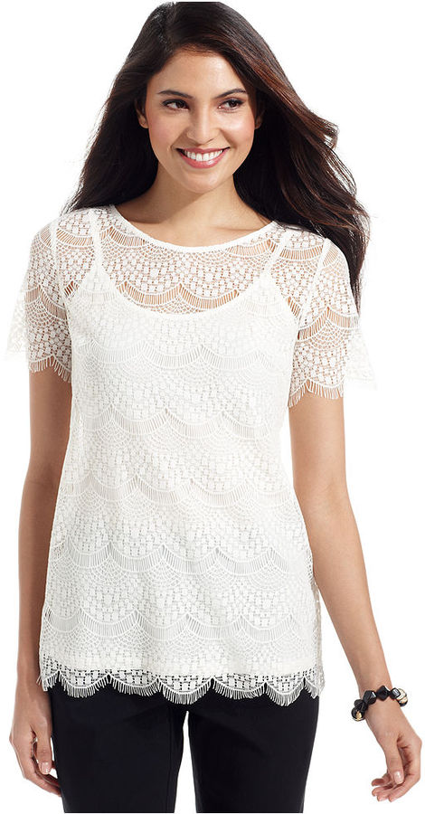 Alfani Petite Top, Short-Sleeve Scalloped Lace