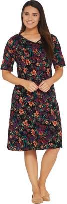 Denim & Co. V-Neckline Fit & Flare Elbow-Sleeve Printed Dress