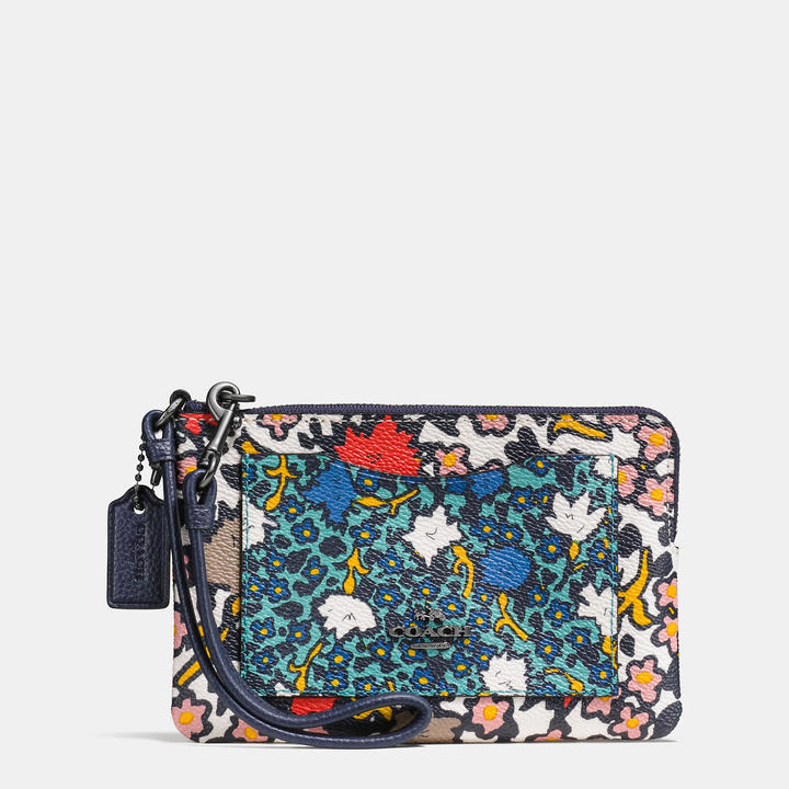 Coach   COACH Coach Small Wristlet In Mixed Yankee Floral Print Canvas