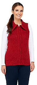 Denim & Co. Zip Front Sweater Vest with CableDetail