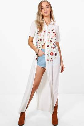 boohoo Grace Boutique Full Embroidered Maxi Shirt