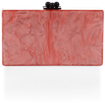 Edie Parker Flamingo Pearlescent Jean Clutch With Clear Ribbon Trim