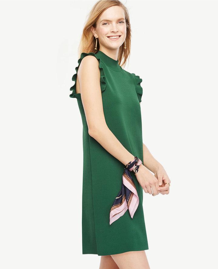 Ann TaylorRuffle Sleeve Mock Neck Dress