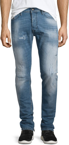 DieselDiesel Tepphair Distressed Straight-Leg Jeans, Light Blue