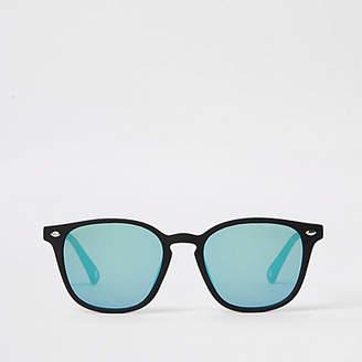 Mens Black slim retro square sunglasses