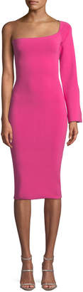 SOLACE London Fiorella One-Sleeve Bodycon Midi Dress