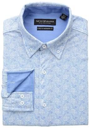 Nick Graham Paisley Print Knit Shirt Men's Long Sleeve Button Up
