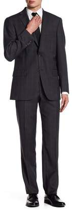 Hart Schaffner Marx Subtle Plaid Two Button Notch Lapel Wool New York Fit Suit
