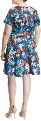 Alexia Admor Plus Wrapped Floral Fit-&-Flare Dress, Plus Size