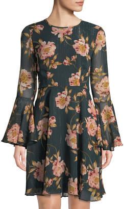 Donna Morgan Crinkle Chiffon Metallic Floral Dress