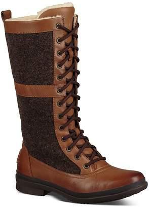 UGG Women's Elvia Waterproof Leather Paneled Tall Lace Up Boots