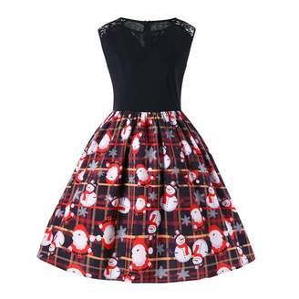 810d68fd25219 ASTV-Women Dress Women Christmas Dress Sleeveless Santa Snowman Claus Print  Party Swing Dress(