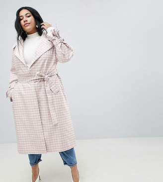 Asos Design Curve Gingham Belted Coat