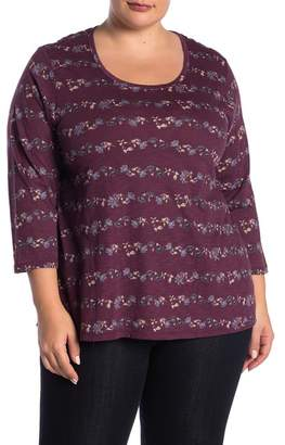 Lucky Brand 3\u002F4 Sleeve Place Floral Tee (Plus Size)