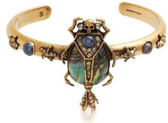 Alexander McQueen Embellished beetle open bangle